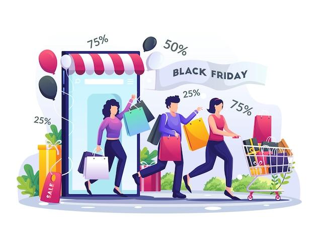사람들은 블랙 프라이데이 빅 할인 홀리데이 세일 일러스트레이션에서 스마트폰을 통해 온라인 쇼핑을 하고 있습니다.