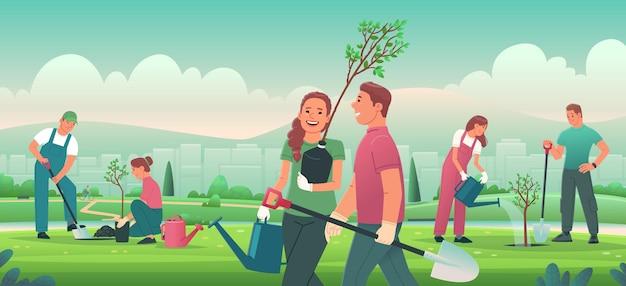 人々は都市公園に植樹しているボランティアや都市住民の男性と女性