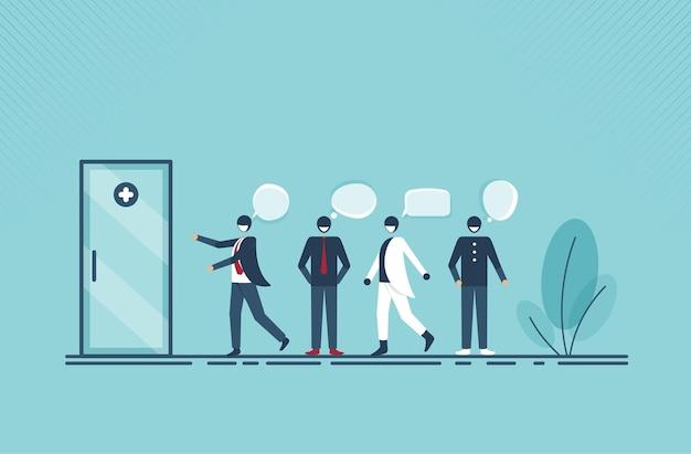 人々は健康診断のために列を作っています。ベクトルイラスト漫画デザイン。