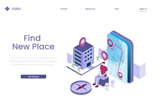 People are searching for locations through navigation apps in isometric illustration style