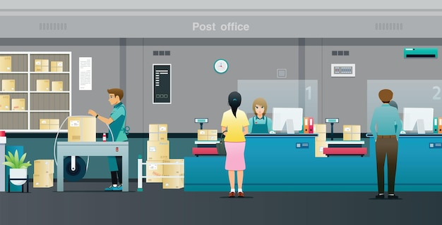 Люди отправляют посылки на стойку в почтовом отделении.