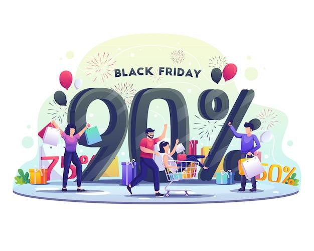 사람들이 블랙 프라이데이 큰 할인 및 홀리데이 세일 일러스트레이션에서 쇼핑하고 있습니다.