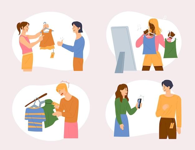 人々は友達と一緒に衣料品店で買い物をしています