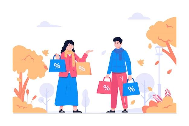 Люди делают покупки в осенней иллюстрации концепции