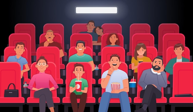 People are sitting in chairs and watching a movie in the cinema theater eat drink drinks watch film