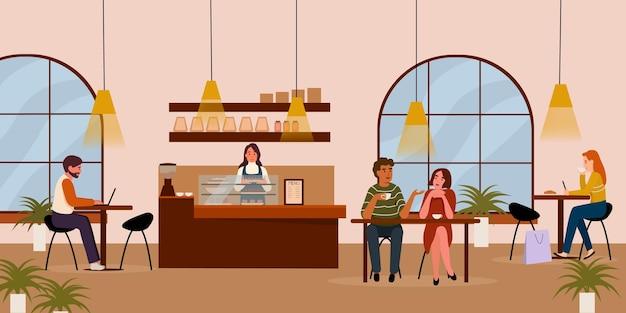 人々はカフェに座っています若い男の子と女の子はテーブルに座ってコーヒートークの仕事を飲みます