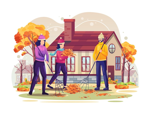 People are sweeping the fallen leaves of autumn vector illustration