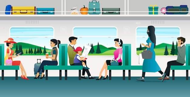 Люди едут на поезде на фоне гор