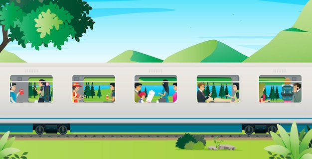 People are traveling by train with mountains in the background