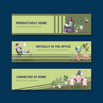 People are working from home  with laptops, pc at table, at sofa. home office banner concept watercolor illustration