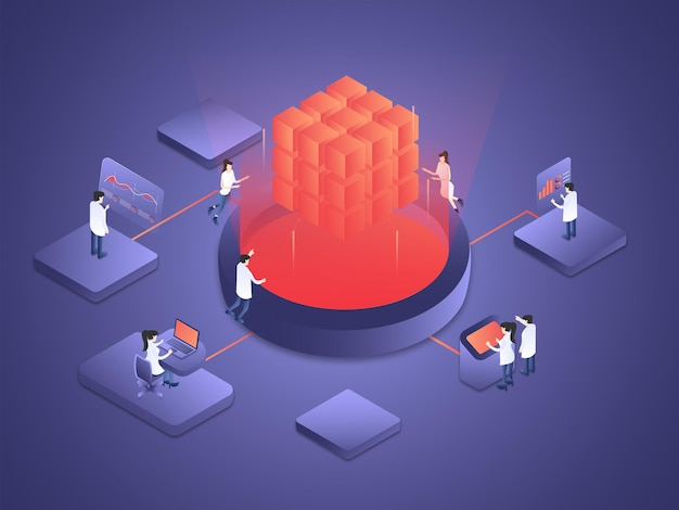 People are working together processing and computing the data of artificial intelligence isometric