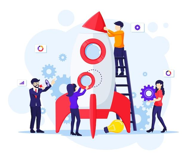 Люди работают вместе, чтобы построить ракету для запуска нового бизнеса