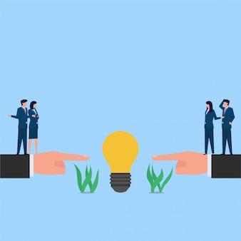 対立とライセンスのアイデアの比喩を主張するために互いに論争している人々。ビジネスフラットの概念図。