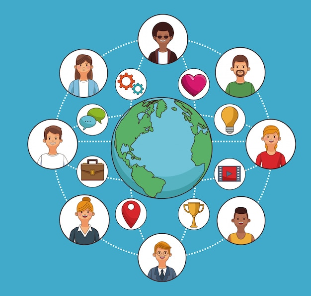 People around the world and social network symbols