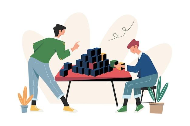 사람들은 비즈니스를 구축하기 위해 퍼즐 요소를 배열합니다.