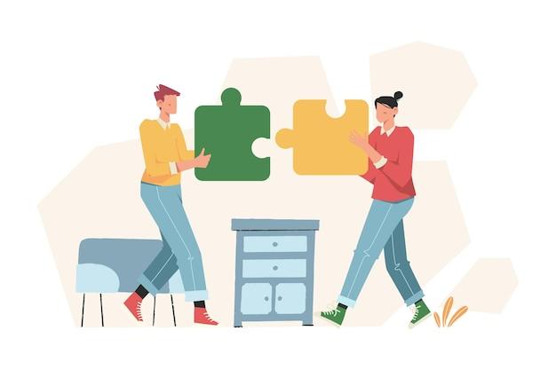 People arrange puzzle to solve the business problem