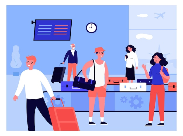 People arriving at airport taking their luggage. flat vector illustration. women, men, tourists waiting at luggage belt and getting their suitcases. airport, luggage, travel, transport concept
