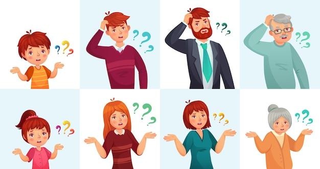 Люди задают вопросы, сомневаются или сбиты с толку. мужчина и женщина думают или колеблются с вопросительными знаками. дети, подростки, старые бабушки и дедушки пожимают плечами, ищут решение векторные иллюстрации