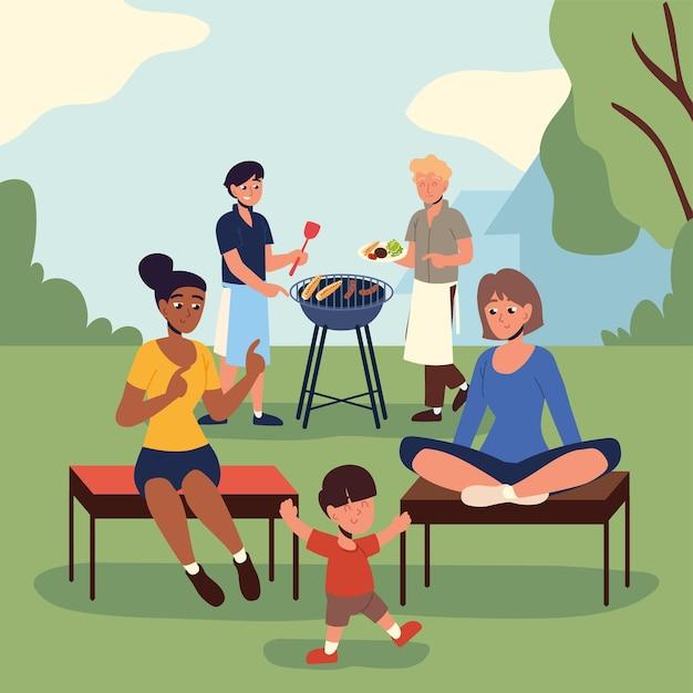 바베큐 파티 뒤뜰에서 사람들