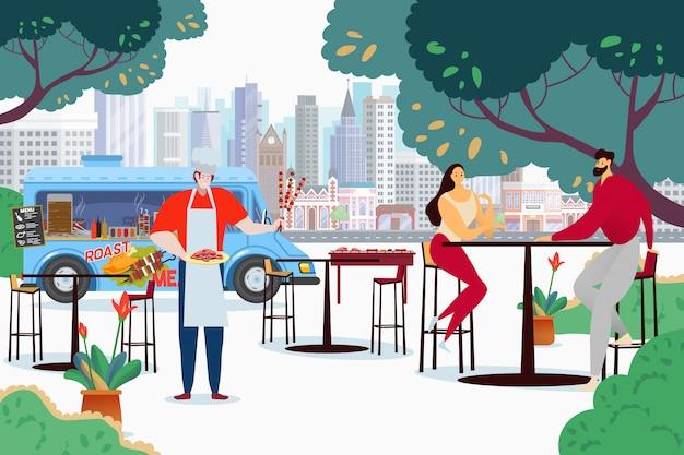 Люди на кафе тележки барбекю, иллюстрация. пара персонажей за высоким столом ждет заказа, готовит шашлыки и жареное мясо.