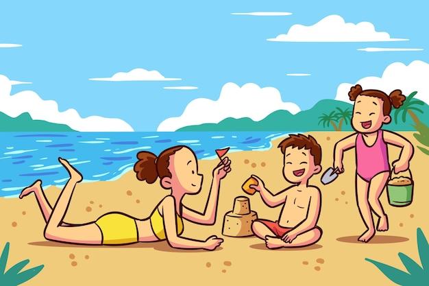 ビーチのイラストの人々