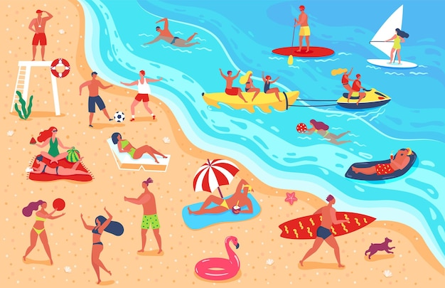 해변 남자 여자 휴식에 있는 사람들은 여름 방학 동안 수영을 하며 스포츠를 즐깁니다.