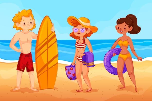 ビーチの人々