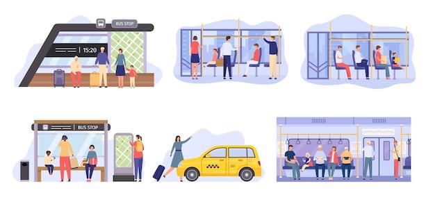 バス停の人々は、市内の公共交通機関の中に群がっています。フラットなキャラクターは、地下鉄や電車で移動し、オートバスや路面電車を待っています。乗客ベクトルセット。電車の中で座って、黄色いタクシーを取る女性
