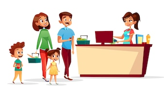 People at checkout counter of family with children in supermarket with shopping counter