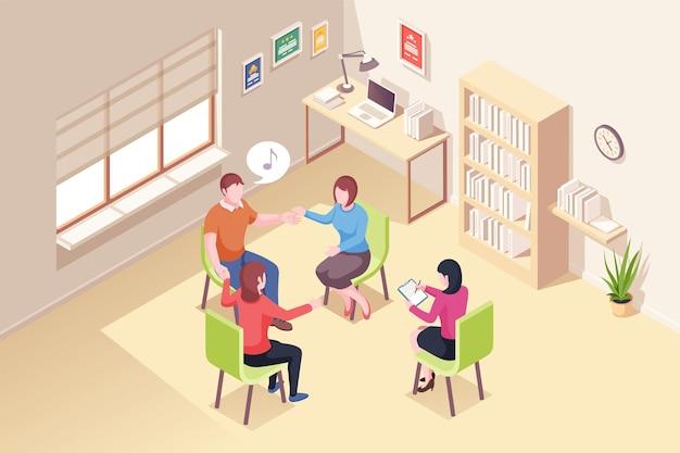 集団精神療法セッションの人々、等尺性。心理学者の医師と患者は、関係の危機と精神的な問題のための心理学音楽療法のグループをサポートします
