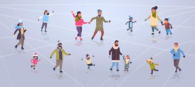Люди на катке на открытом воздухе зимние виды спорта деятельность праздники концепция плоская иллюстрация