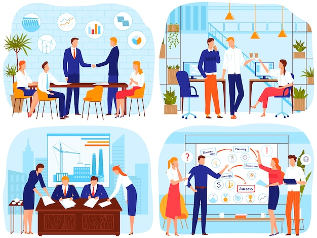 ブレーンストーミングのオフィスビジネス会議の人々はベクトルイラストです。漫画のビジネスマンのリーダーが握手、会議で会う、従業員スタッフのブレーンストーミング
