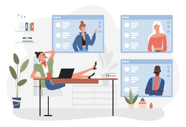 オフィスのテーブル会議に座っているオンラインビデオ会議の実業家の人々