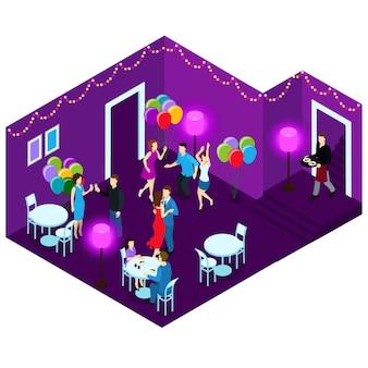 Люди на вечеринке изометрические иллюстрации