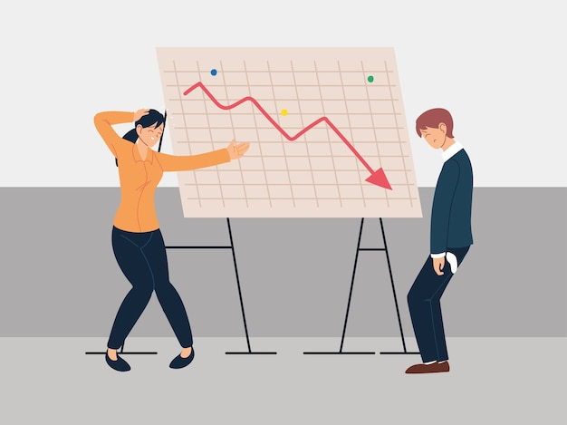 グラフ、金融危機、経済問題のイラストデザインの減少のプレゼンテーションの人々