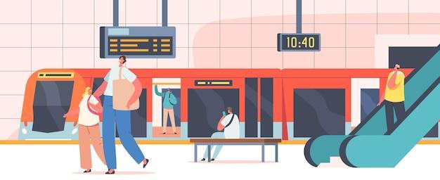 지하철 역에 있는 사람들, 기차, 에스컬레이터, 시계 및 디지털 디스플레이가 있는 공공 지하철 플랫폼의 남성 및 여성 캐릭터, 도시 통근자, 도시 교통. 만화 벡터 일러스트 레이 션