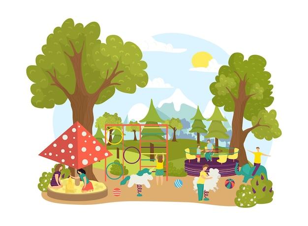 Люди на детской площадке летнего парка