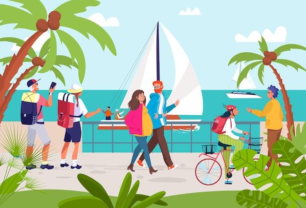 Люди на летнем морском курорте иллюстрации