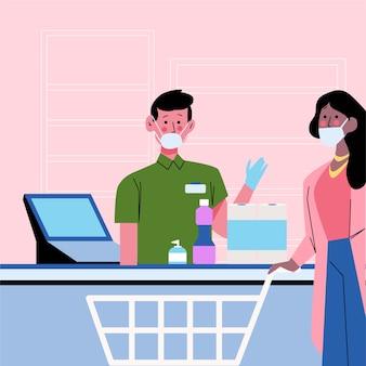 スーパーでレジを持つ人々