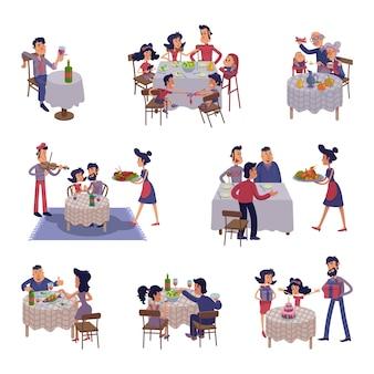 テーブルフラット漫画イラストキットの人々。男性と女性が夕食をとり、一緒に食事をします。家族の夕食、友達との出会い。コマーシャル、アニメーション用の2dコミック文字セットテンプレートを使用する準備ができました