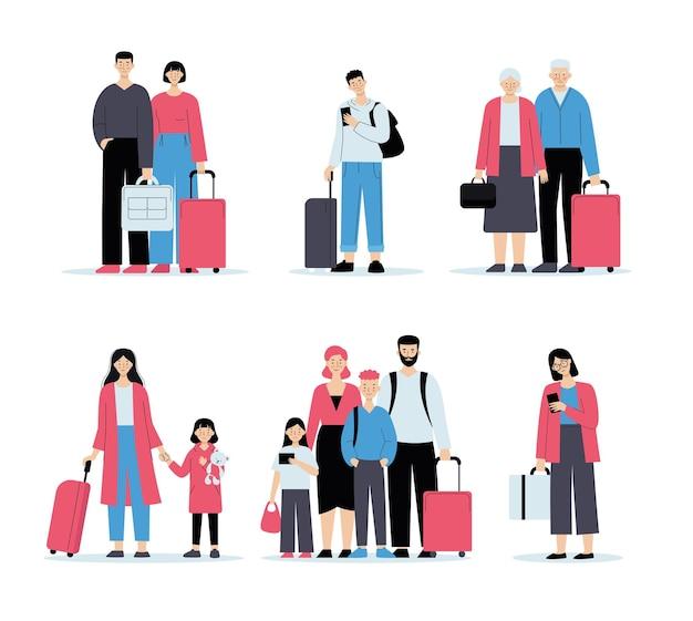 수하물을 가지고 공항에있는 사람들. 체크인 대기열, 가족 여행, 출장. 고립 된 평면 스타일의 그림입니다.