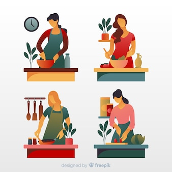 Люди на кухне коллекции