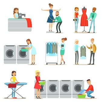 웃는 만화 캐릭터의 세탁소, 드라이 클리닝 및 재봉 서비스 모음에서 사람들