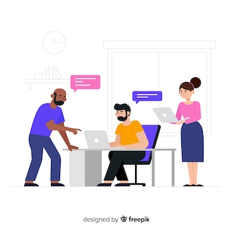 사무실에서 사람들