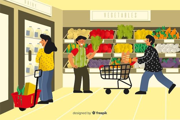 슈퍼마켓에서 사람들