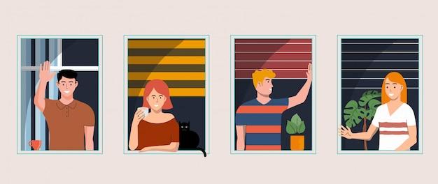 Люди у окна концепции