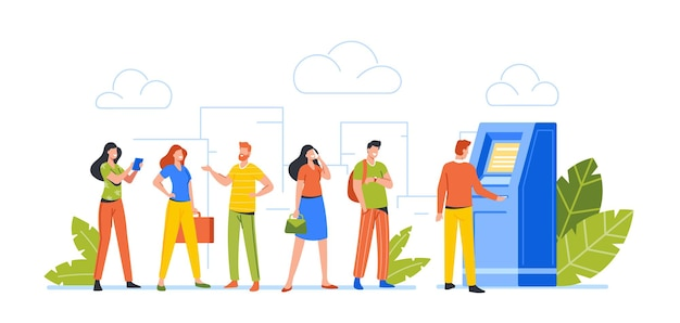 People at atm line. male and female clients characters stand in queue in bank waiting turn to draw or put money to automated teller machine, transaction, banking services. cartoon vector illustration