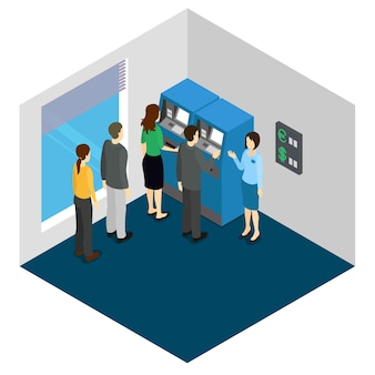 People and atm machine isometric design