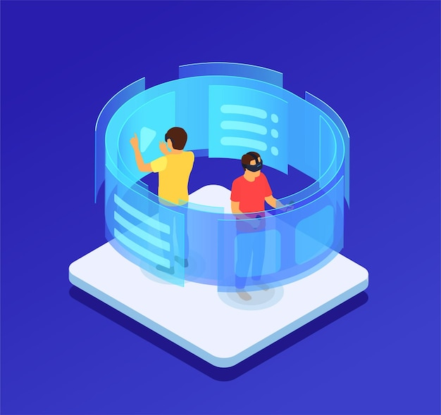 People in augmented glasses touching virtual screen isometric illustration