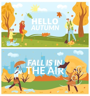 People in autumn park, fall season on nature, fun autumnal banners set,  illusttration. walking, jumping on puddle, playing with autumn leaves, man with umbrella. forest in fall. Premium Vector